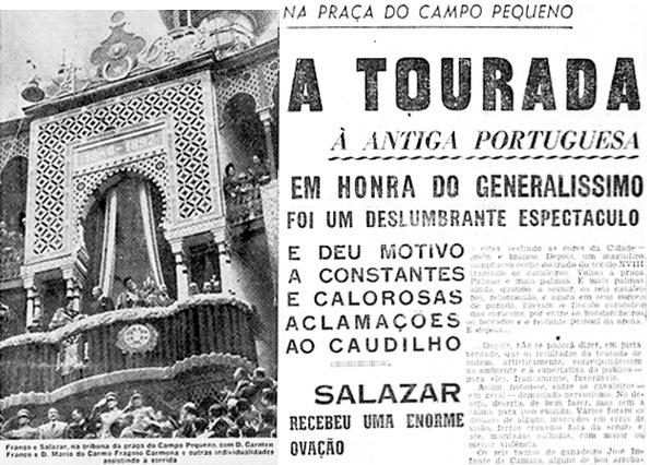 Franco e Salazar no Campo Pequeno (Diário de Notícias, 24 de Outubro de 1949)